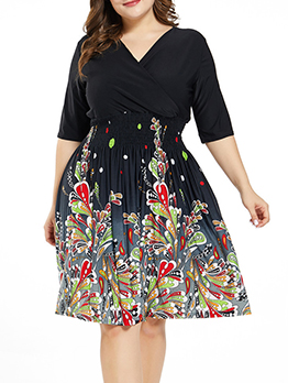 Chic Colorful Print Knee Length Short Sleeve Dress
