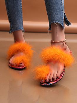 Comfort Solid Fluffy Slide Slippers For Women