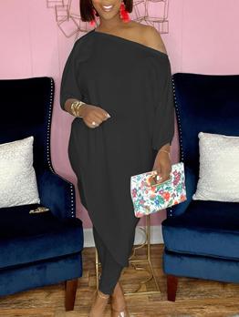 Plus Size Inclined Shoulder 2 Piece Pant Set