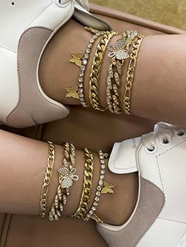 Street Rhinestone Butterfly Pendant Anklet Sets For Women