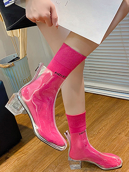 Chic Transparent Chunky Heels Boots