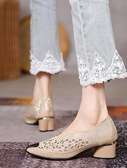 New Fashion Patchwork Hollow Out Rhinestone Flats