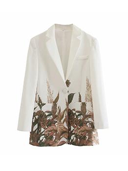 Fashion Long Sleeve Print Ladies Blazer
