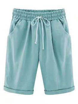 Plus Size Drawstring Solid Half Pants
