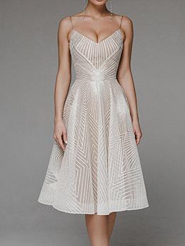 V Neck Backless Sleeveless Party Dress