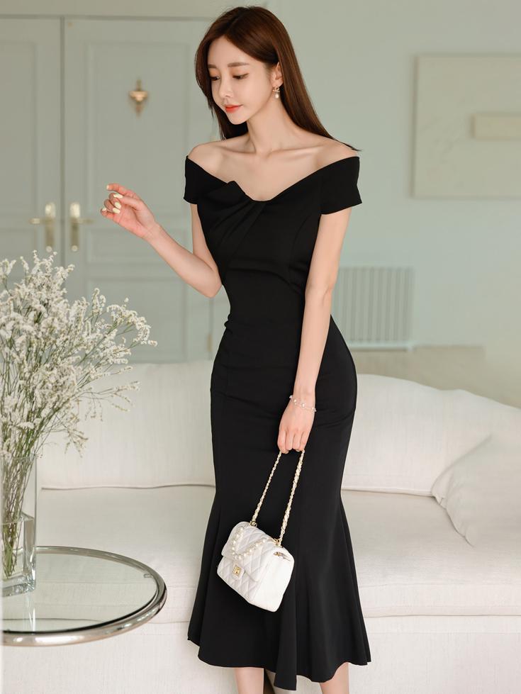 Elegant Pure Black Off Shoulder Maxi Mermaid Dress