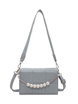 Fashion Grid Faux Pearl Shoulder Bag For Women