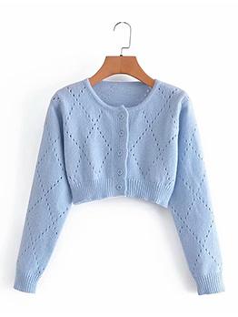 Casual Rhombus Plaid Knitting Coat
