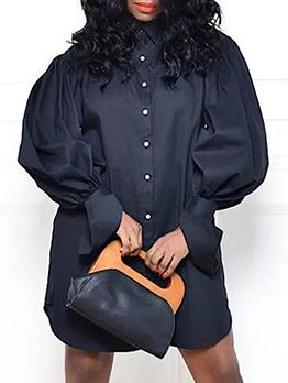 Latest Style Lantern Sleeve Loose Plus Size Shirts Dresses
