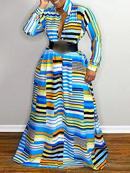 Euro Loose Striped Colorful Long Sleeve Maxi Dress