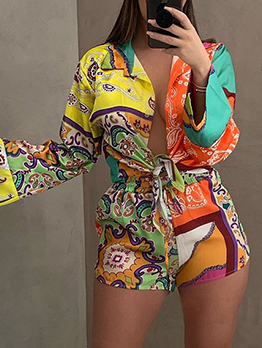 Casual Printed Blouse 2 Piece Pant Sets