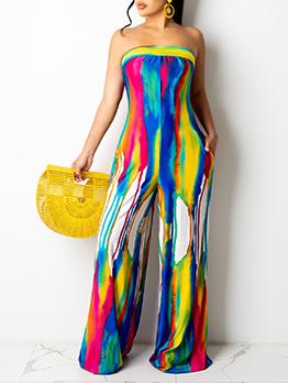 Fashion Tie Dye Strapless Wide Leg Jumpsuit