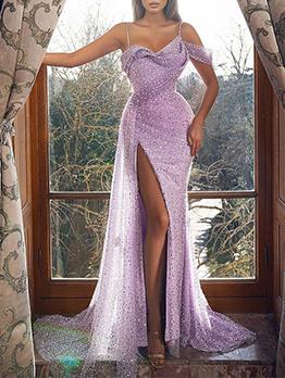 Elegant Sequined Sleeveless Purple Evening Dresses