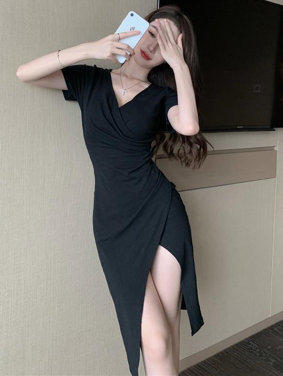 Alluring Solid V Neck Irregular Hem Short Sleeve Dress