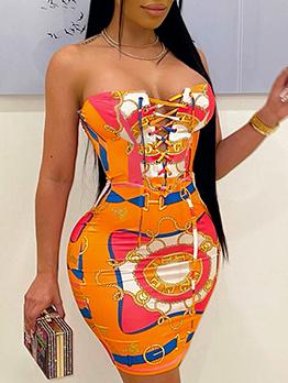 Sexy Tie Wrap Strapless Short Dress
