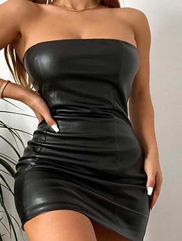 Patent Leather Black Strapless Bodycon Mini Dress