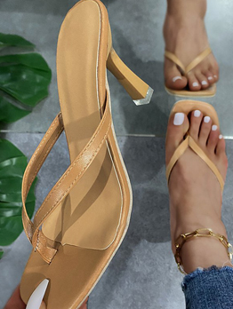 Casual Solid High Heels Ladies Slippers