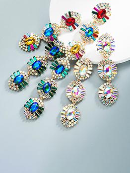 Baroque Alloy Multicolored Rhinestone Euro Earring