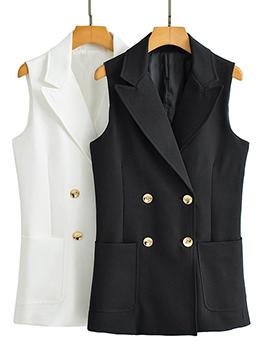 Fashion Solid Business Work Sleeveless Blazer