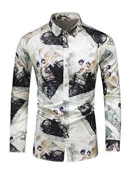 Autumn Colorful Print Long Sleeve Shirts