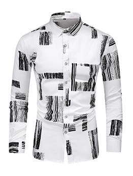 Fashion Contrast Color Long Sleeve Shirts