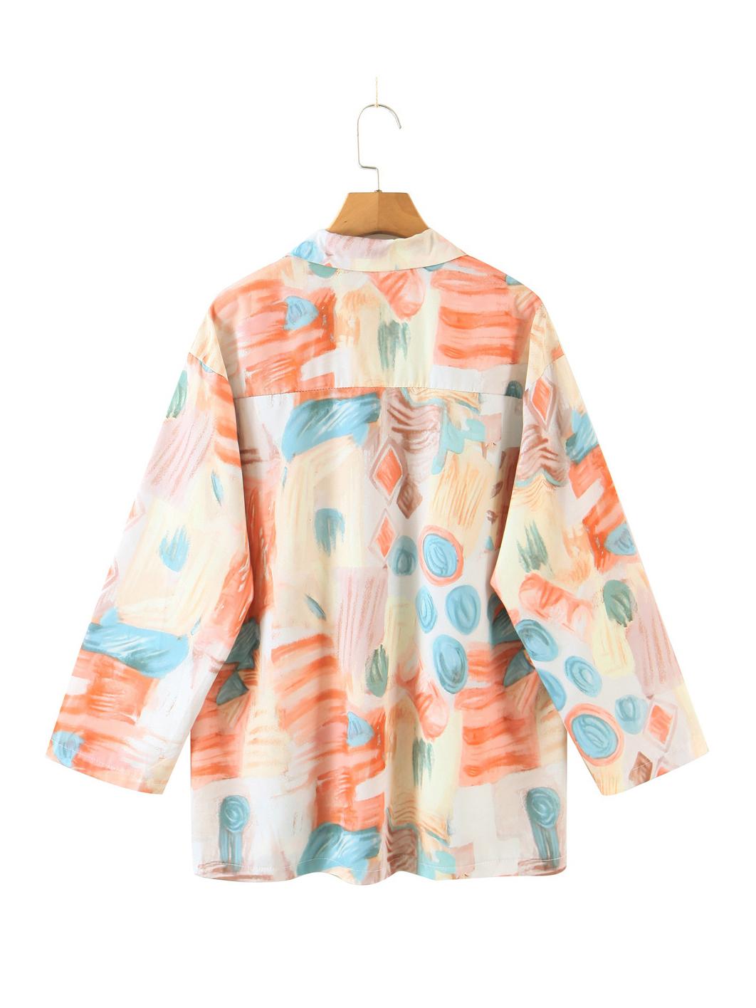 Summer Pocket Long Sleeve Loose Blouse For Women