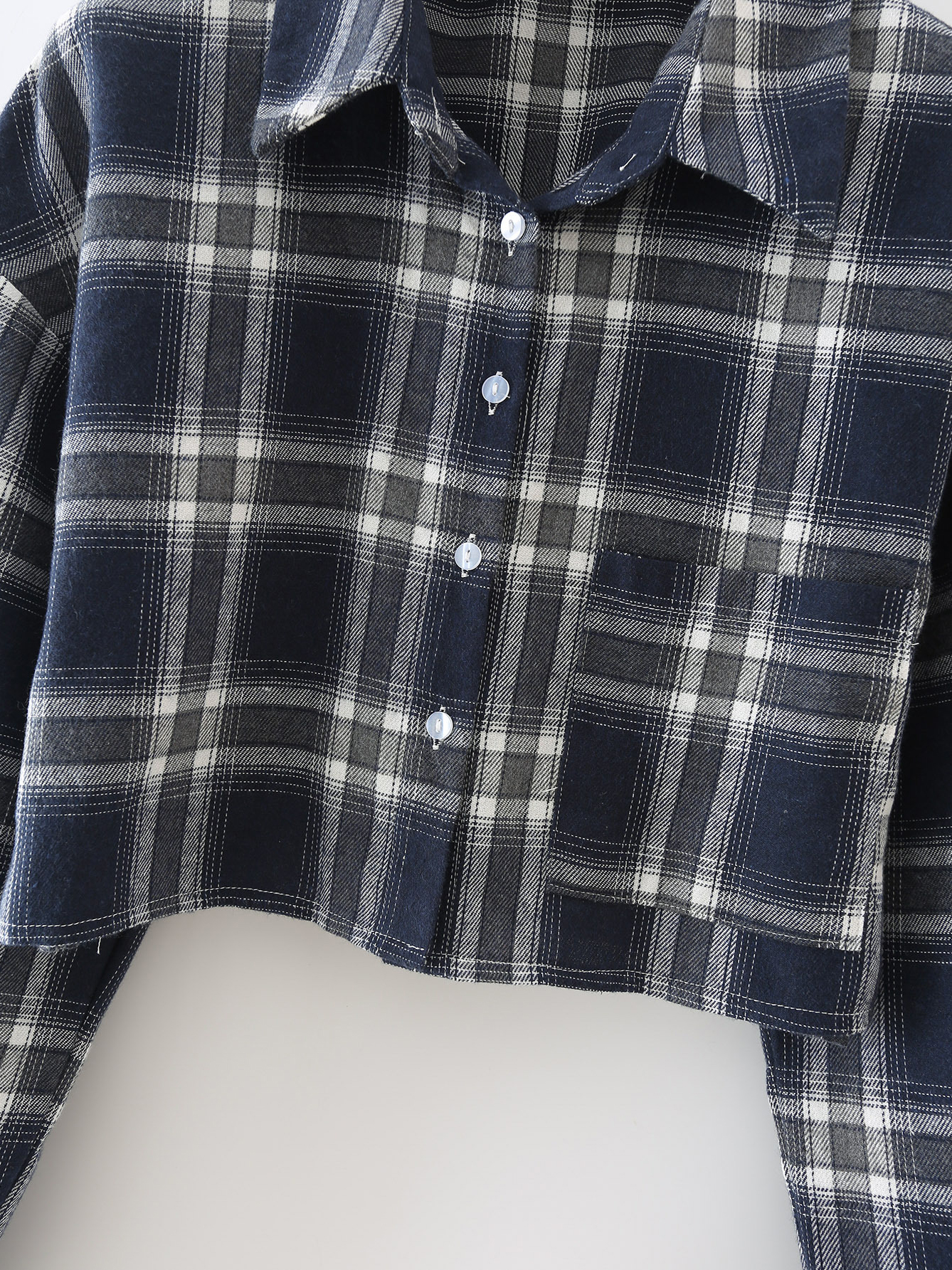 Trendy Plaid Long Sleeve Cropped Blouse For Women