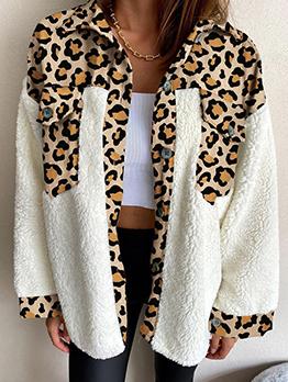 Leopard Patchwork Winter Casual Vintage Short Coat
