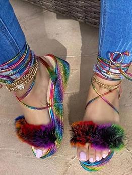 Faux Fur Lace Up Wedge Sandals