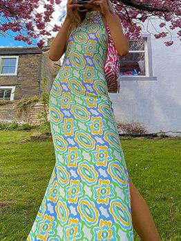 Summer Printed Slit Backless Halter Maxi Dress