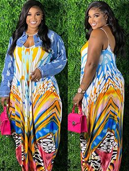 New Tie Dye Plus Size Maxi Dress