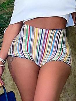New Contrast Color Striped Short Pants