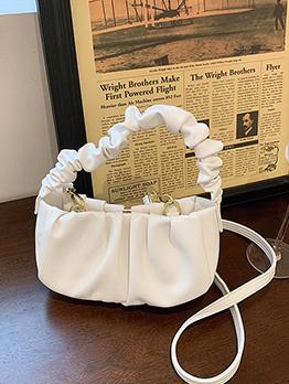 New Cute Ruched Solid Shoulder Handbag For Women
