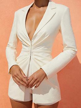 Fashion Ruched Long Sleeve Ladies Blazer