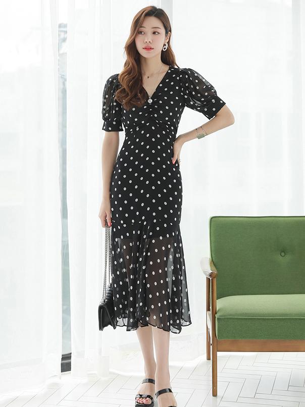 Elegant Dot V Neck Summer Short Sleeve Mermaid Dress