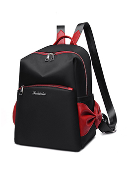 Travel Contrast Color Oxford Bow Backpack For Women