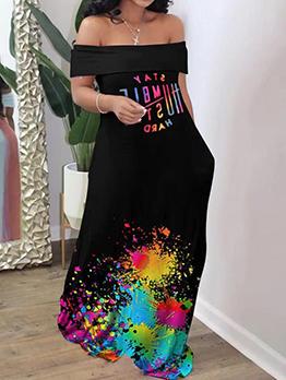 Graffiti Print Casual Black Off Shoulder Maxi Dresses