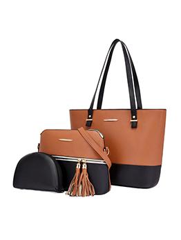 High-Capacity Contrast Color Travel Trendy Handbag Set