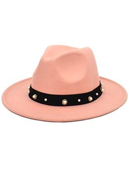 Trendy Faux-Pearl Woolen Sun-Prof Fedora Hat