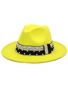 Elegant Rhinestone Faux-Pearl Outdoors Fedora Hat