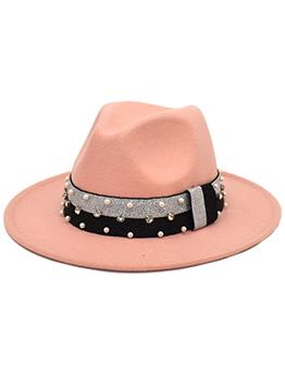 Popular Faux-Pearl Contrast Color Felt Fedora Hat