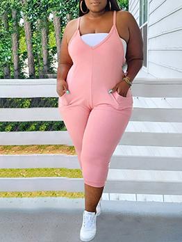 Casual Pink V Neck Plus Size Jumpsuit