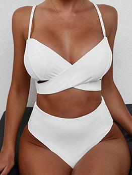 Seductive Solid V Neck Bathing Suits For Women