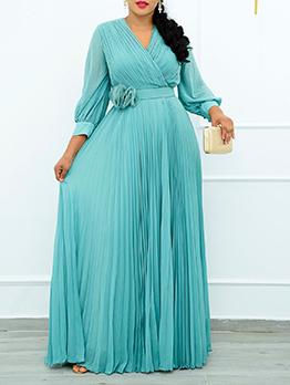 Pure V Neck Plus Size Casual Dress
