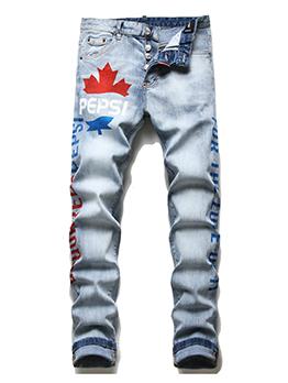 Vogue Letter Printed Casual Men Skinny Jeans