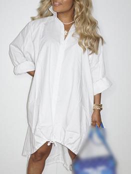 Loose Fitting Solid Irregular Big Hem Long Sleeve Dress