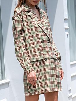 Autumn Vintage British Style Green Plaid Blazer Coat