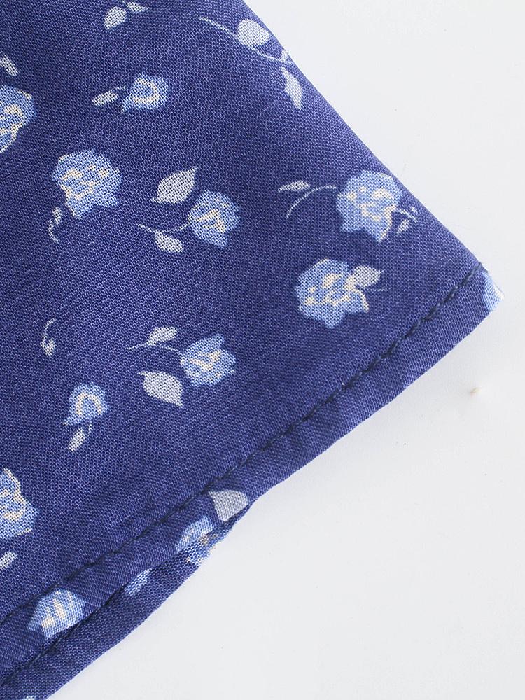 Summer Full Flower Print Long Sleeveless Blouse