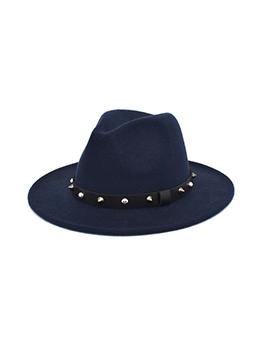 Casual Solid Rivets Unisex Woolen Fedora Hat