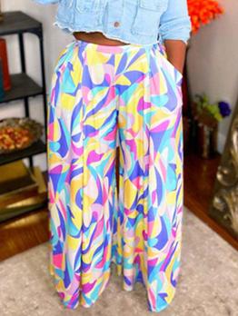 Novelty Print Casual Mid Waist Plus Size Wide-Legged Pants